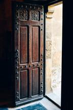 an open wood door