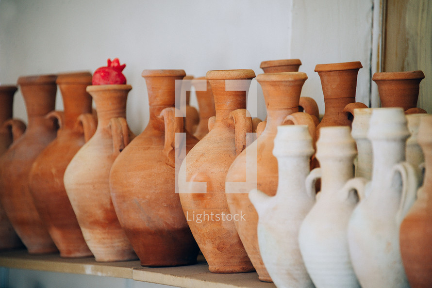 clay pottery in a row