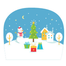 Winter Holidays Scene with Snowman, Christmas Tree and Snowy Hill