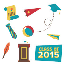 graduation icon set 2015