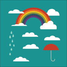 rainbow, clouds, rain, umbrella vectors on green