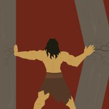 Samson pushing apart two columns.