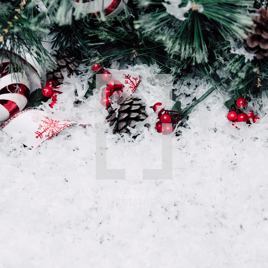 Christmas garland in snow