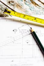 tape measure, blueprints, building project, pencil