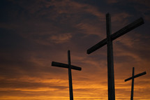 Three crosses at sunset.
