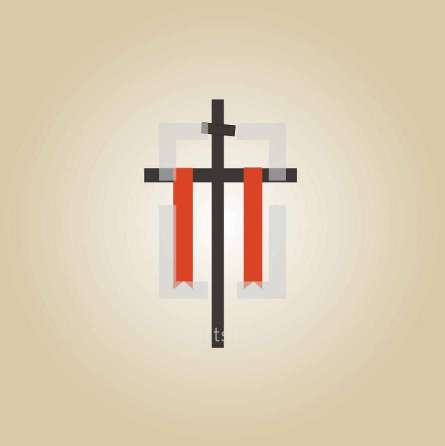 cross and red sash