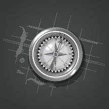Etching style Compass graphic, with partial map background