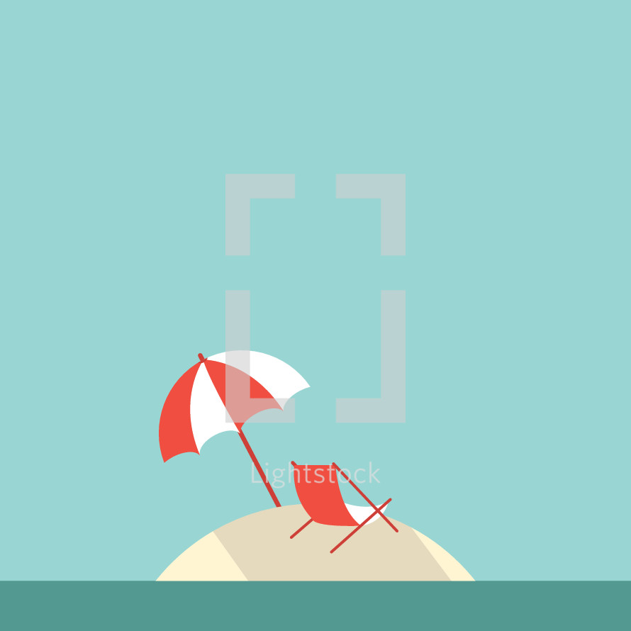 island beach umbrella and chair