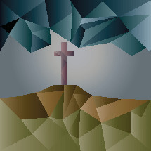 Geometric Cross on a Hill signifying Jesus' life, death and resurrection.