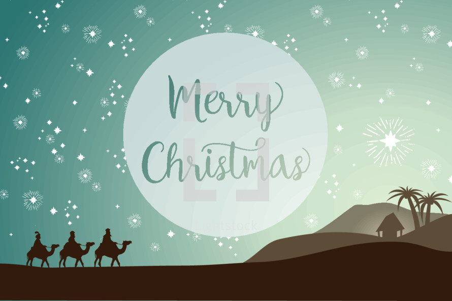Merry Christmas with wisemen