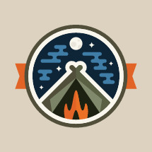Camping illustration badge design