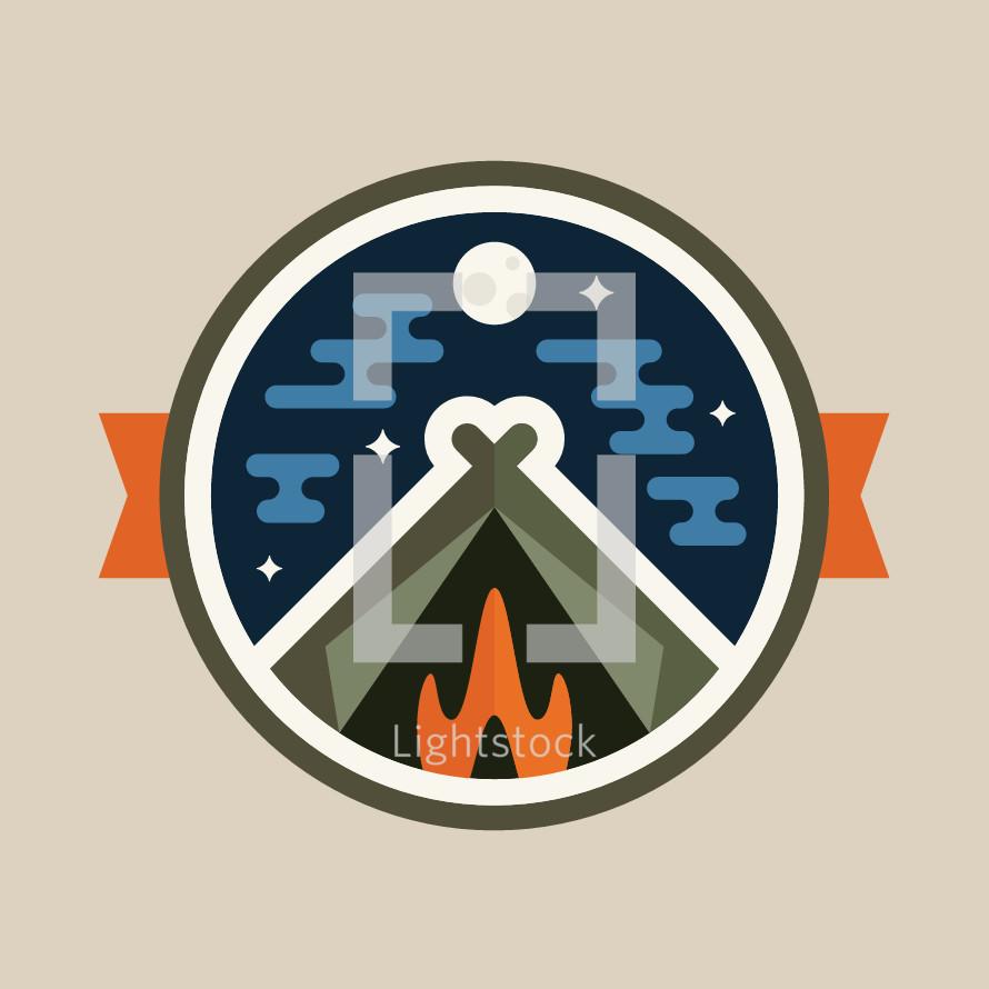 Camping illustration badge design