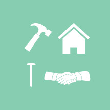 hammer, nail, shaking hands, hand shake, house, construction, icons