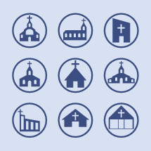 A variety of church icons from traditional to modern.