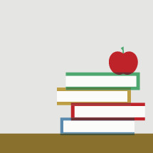 apple on a stack of books.