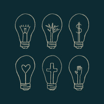 light bulbs with christian filaments.