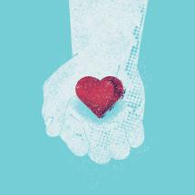 hand holding a heart.