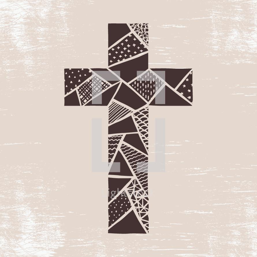 patchwork cross illustration.