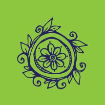 hand drawn floral badge