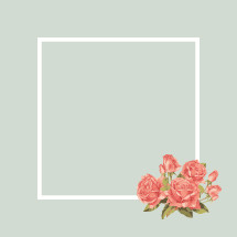 roses in the corner of a blank frame.