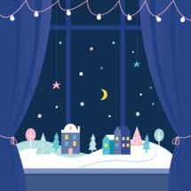 Winter Holidays Window Decorations. Snowy Town at Night