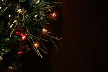 glowing Christmas lights on garland border