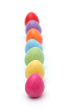 row of colorful Easter egg candies