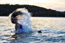 a woman splashing in water