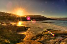Sunset on the ocean shore.