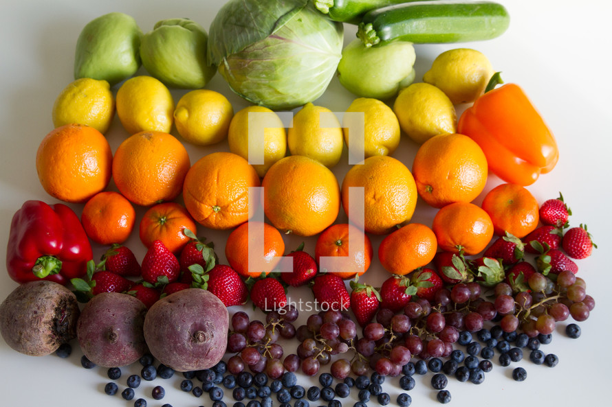 rainbow colored produce