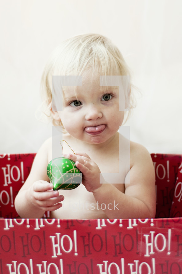 toddler in a Christmas box