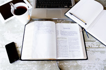 tea cup, open Bible, inspiration, laptop, computer, work space, iPhone, journaling, journal, pencil, tablet, iPad