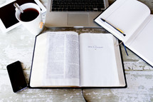 tea cup, open Bible, inspiration, laptop, computer, work space, iPhone, journaling, journal, pencil, tablet, iPad