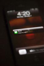 Text message from God - Wanna talk?