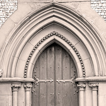 arched doorway on a church in England