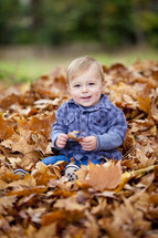 Toddler playing in the leaves