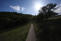 Dirt path through a field