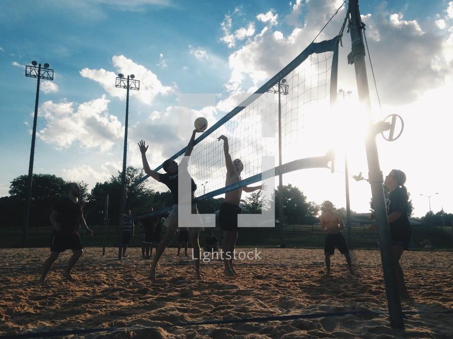 a beach volleyball game