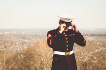a marine in dress blues