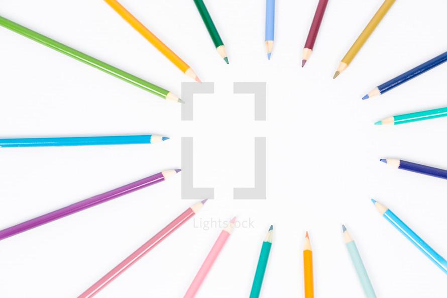 radiating colored pencils