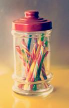 candy sticks in a jar