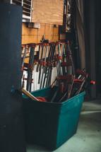 saws in workshop