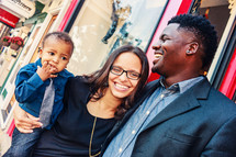 a happy young African American family