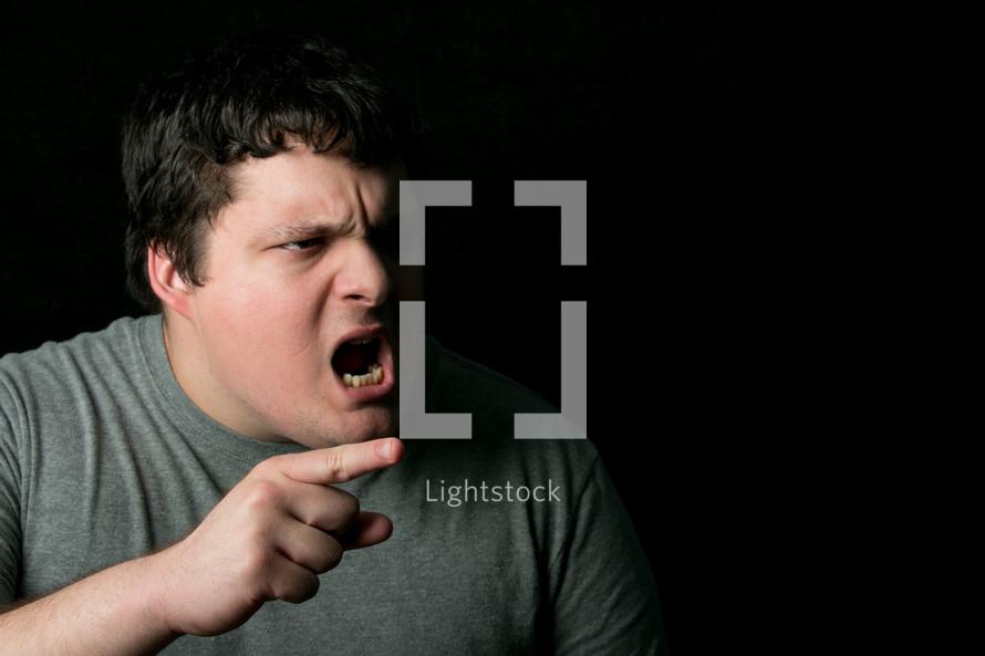 a man yelling