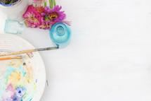watercolor on a plate, paint brushes, pastels, flowers, house plant, teal, glass, art, background