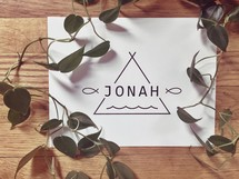 green leaves and word Jonah