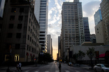 downtown Dallas crosswalk at sunset