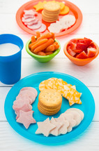 Healthy snack for Children on Bright Plates