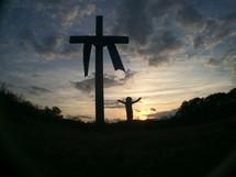 silhouette, cross, cloudy sky, shroud, woman, girl, open arms, worship
