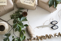 brown paper and twine to wrap gifts
